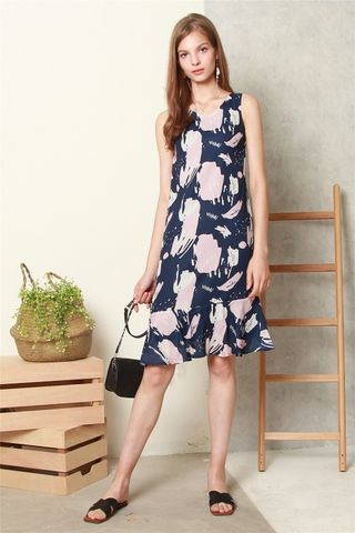 ACW Block Prints Drop Hem Midi Dress in Navy