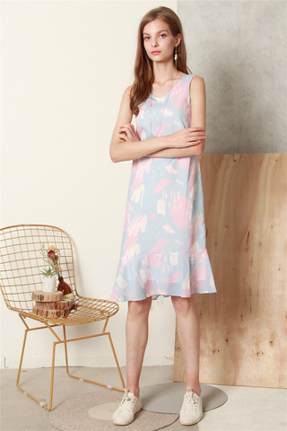 ACW Block Prints Drop Hem Midi Dress in Sky