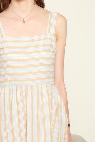 Coloured Stripes Swing Dress in Sky Blue