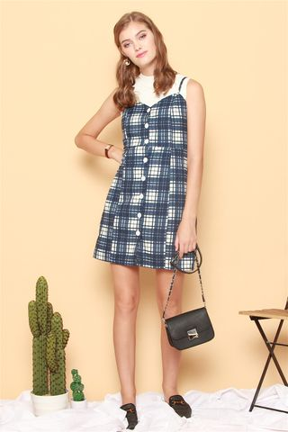 ACW Checkered Button Slip Dress in Blue