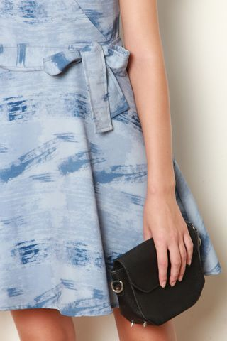 Pastel Abstract Printed Wrap Dress in Blue