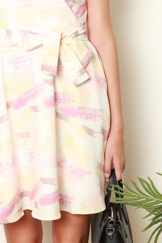 Pastel Abstract Printed Wrap Dress in White