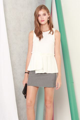 ACW Asymmetric Pleats Babydoll Top in White