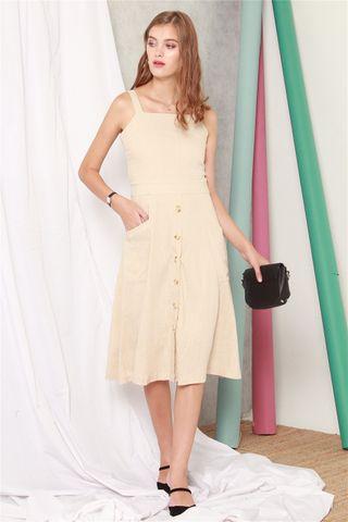Button Down Linen Midi Swing Dress in Khaki