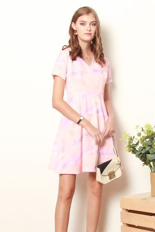 Pastel Abstract Printed Wrap Dress in Pink