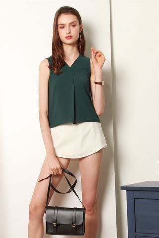 ACW Sleeveless Overlap Top in Emerald