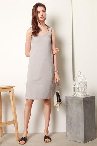*BACK IN STOCK* ACW Linen Pinstripe Midi Slip Dress in Grey