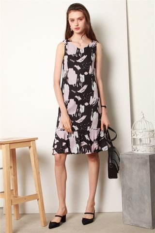 ACW Block Prints Drop Hem Midi Dress in Black