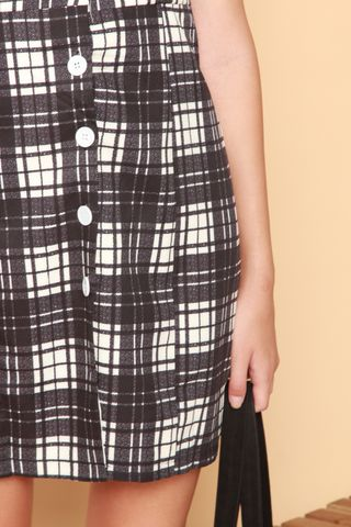 ACW Checkered Button Slip Dress in Black