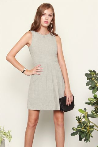 *BACK IN STOCK* ACW Corner Pleats Tweed Work Dress in Grey