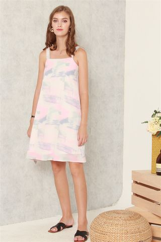 Abstract Pastel Shift Dress