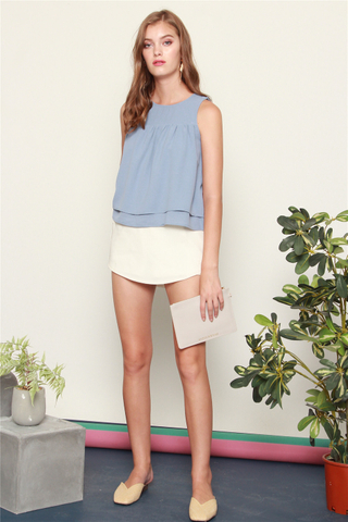 Double Tiered Top in Ash Blue
