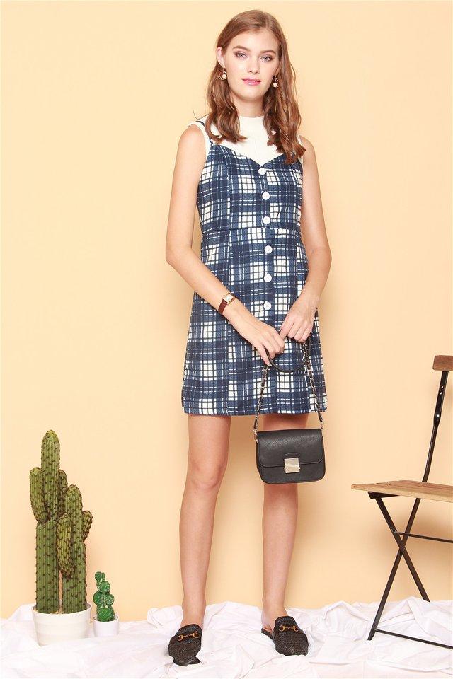 ACW Checkered Button Slip Dress in Blue