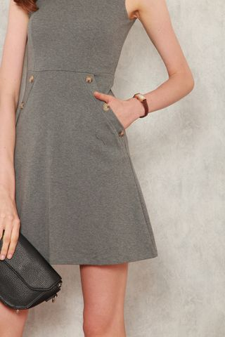 ACW Knitted Button Dress in Grey