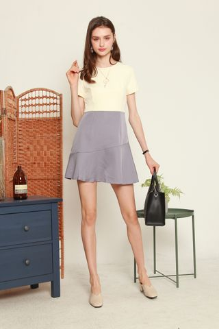 Colourblock Drop Hem Work Dress in Ash Blue
