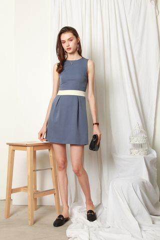 ACW Colourblock Box Pleats Dress in Ash Blue
