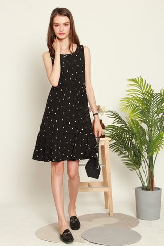 *BACK IN STOCK* Drop Hem Sash Midi Dress in Polka Dot