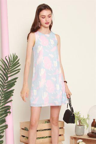 ACW Block Prints Trapeze Dress in Sky Blue