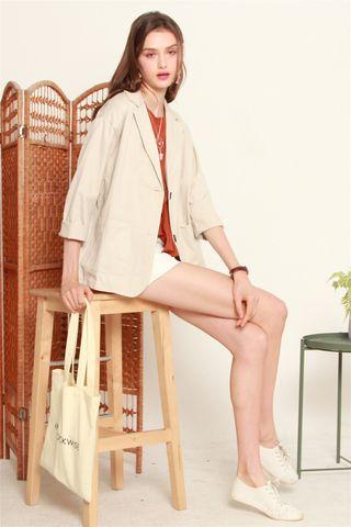 Structured Pocket Coat Blazer in Khaki