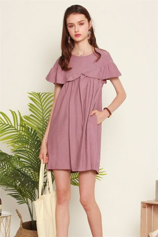 Ruffle Romper Dress in Mauve