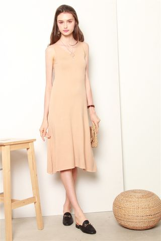 Knit Midi Basic Dress in Khaki