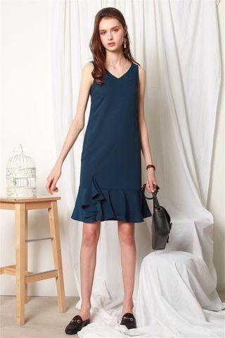 Overlay Flounce Midi Dress in Turquoise