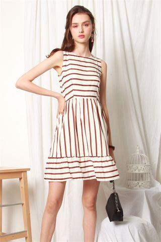Thick Stripe Drop Hem Swing Dress in White