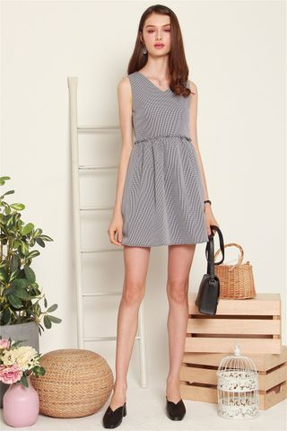 ACW Frill Babydoll Dress in Black Gingham