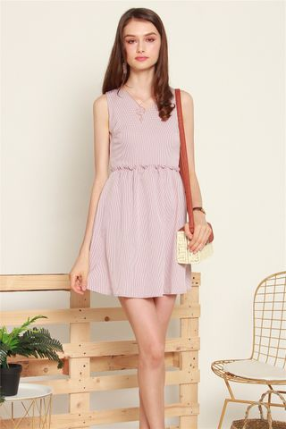 ACW Frill Babydoll Dress in Pink Gingham
