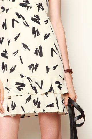 Geometric Lines Flare Dress in White