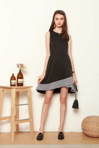 Overlap Gingham Midi Dress in Black