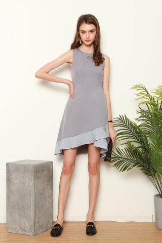 Overlap Gingham Midi Dress in Grey