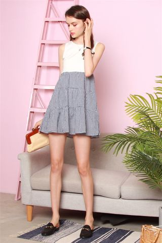 ACW Colourblock Tier Babydoll Dress in Houndstooth