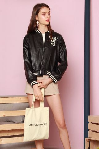 Say No Bomber Jacket in Black