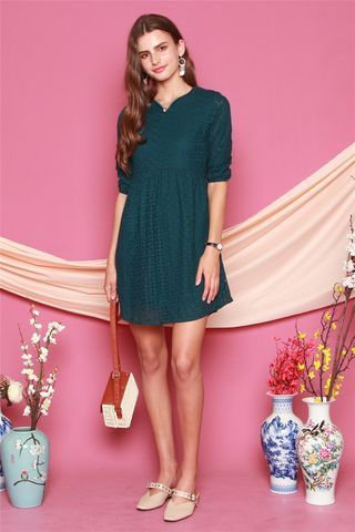 *BACK IN STOCK* ACW Eyelet Sleeved Babydoll Dress in Emerald