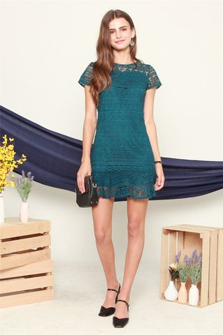 ACW Crotchet Mermaid Hem Dress in Emerald