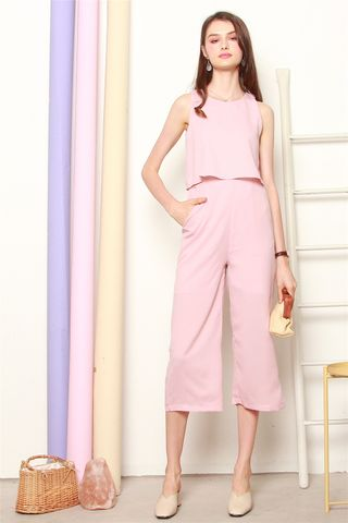 Layered Jumpsuit in Dusty Pink