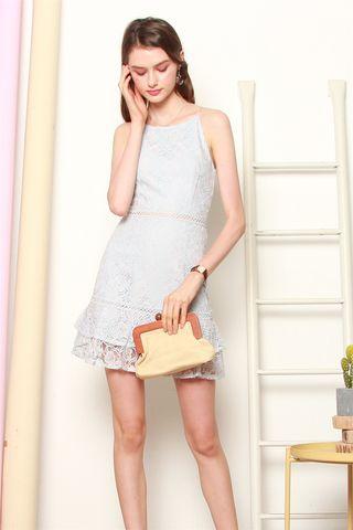 Intricate Lace Cut In Dress in Sky