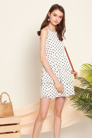 Tiered Polka Dot Dress in White