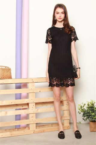 Sleeved Crotchet Panels Sheath Dress In Black