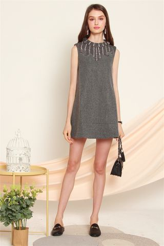 Sequin Embellishments Trapeze Dress in Grey