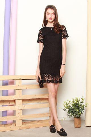 Sleeved Crotchet Panels Sheath Dress In Black
