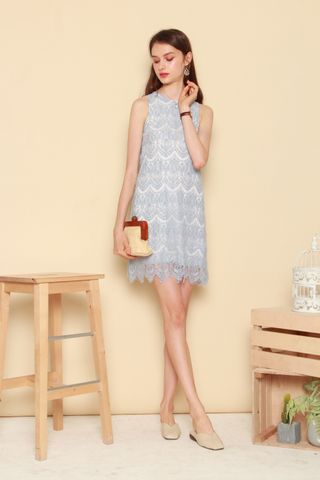 *BACK IN STOCK* ACW Lace Trim Trapeze Dress in Powder Blue