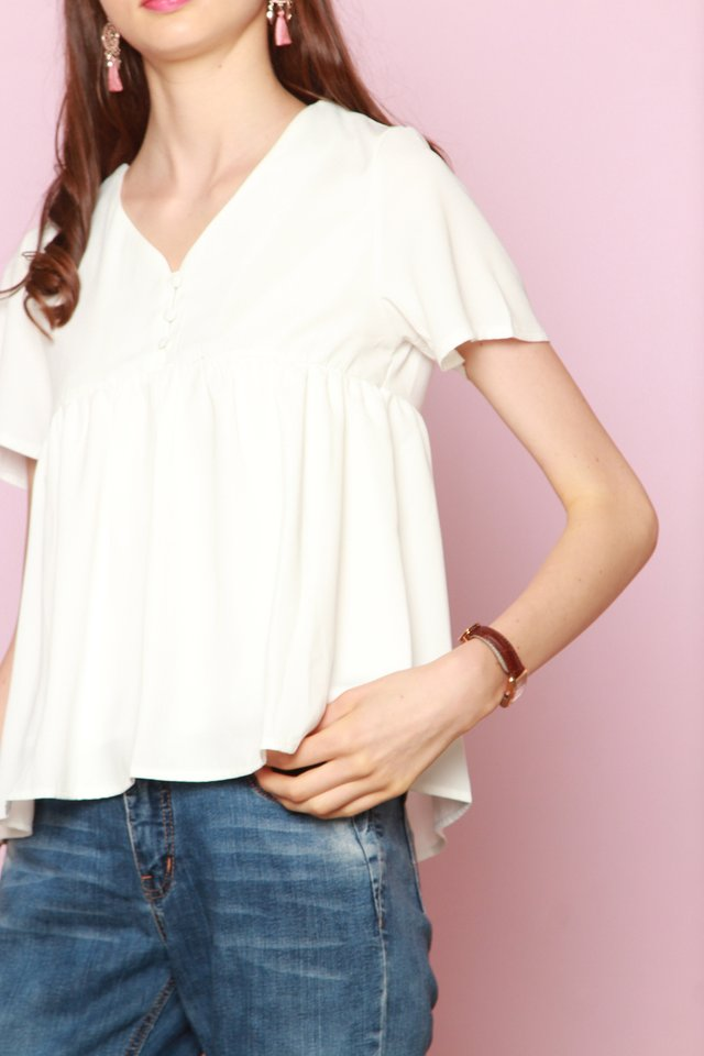 *BACK IN STOCK* ACW Button Down Babydoll Top in White