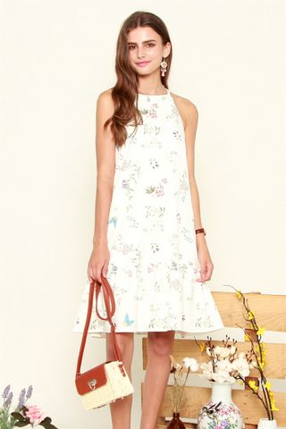 *BACK IN STOCK* ACW Cut In Pastel Floral Dropwaist Midi Dress in White