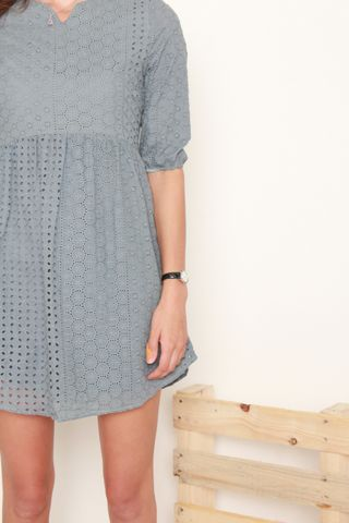 ACW Eyelet Sleeved Babydoll Dress in Ash Blue
