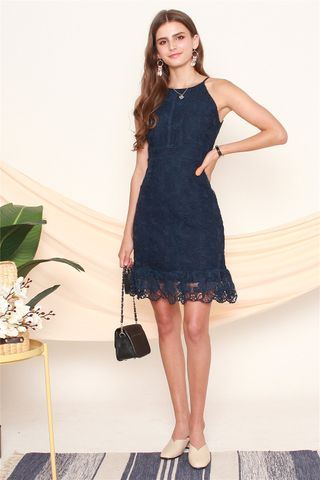Floral Crochet Neckline Dress in Navy