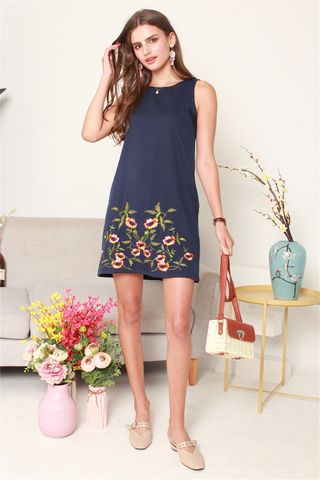Spring Embroidery Shift Dress in Navy