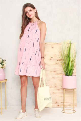 Abstract Lines Cut In Dropwaist Dress in Dusty Pink