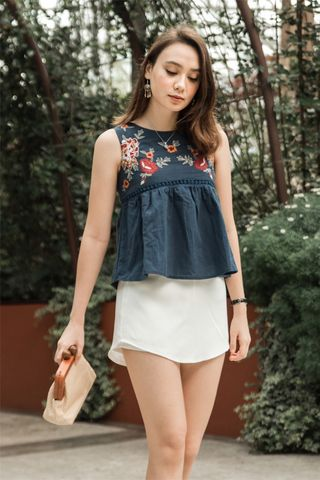 *BACK IN STOCK* ACW Garden Floral Swing Top in Navy